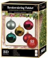 Complete kerstballen set gekleurd 93 delig rood goud roze mint turquoise