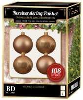 Donker parel champagne kerstballen pakket 108 delig voor 210 cm boom