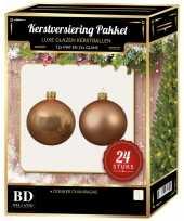Donker parel champagne kerstversiering kerstballen 24 delig 6 cm
