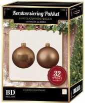 Donker parel champagne kerstversiering kerstballen 32 delig 6 cm 8 cm 10 cm