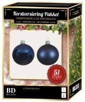 Donkerblauwe kerstballen pakket 51 delig voor 120 cm boom