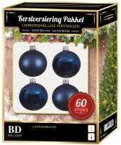 Donkerblauwe kerstballen pakket 60 delig voor 150 cm boom