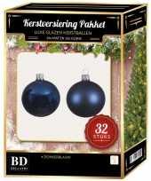 Donkerblauwe kerstversiering kerstballen 32 delig 6 cm 8 cm 10 cm