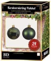 Donkergroene kerstversiering kerstballen 24 delig 6 cm