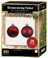 Donkerrode kerstversiering kerstballen 24 delig 6 en 8 cm