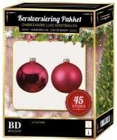 Fuchsia roze kerstballen pakket 45 delig voor 120 cm boom