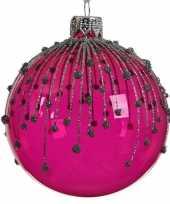 Fuchsia roze kerstballen transparant 8 cm 10104724