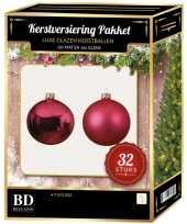 Fuchsia roze kerstversiering kerstballen 32 delig 6 cm 8 cm 10 cm