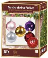 Gekleurde kerstballen pakket 147 delig voor 180 cm boom