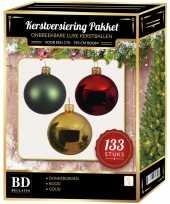 Goud donkergroene kerst rode kerstballen pakket 133 delig voor 180 cm boom