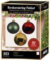 Goud donkergroene rode kerstballen pakket 91 delig voor 150 cm boom