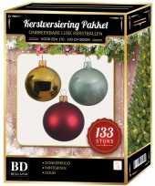 Goud donkerrode mintgroene kerstballen pakket 133 delig voor 180 cm boom
