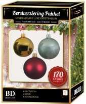 Goud donkerrode mintgroene kerstballen pakket 170 delig voor 210 cm boom