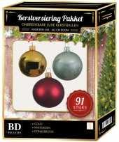 Goud donkerrode mintgroene kerstballen pakket 91 delig voor 150 cm boom