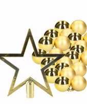 Goud kerstboom versiering set 36 kerstballen en kerstster piek 10096386