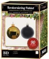 Goud met zwart kerstballen pakket 90 delig voor 150 cm boom