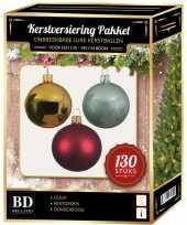 Gouden donkerrode mintgroene kerstballen pakket 130 delig voor 180 cm boom