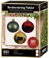 Gouden groene rode kerstballen pakket 181 delig voor 210 cm boom