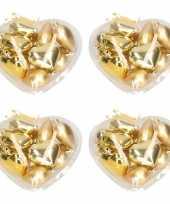 Gouden kerstdecoratie hartjes kerstballen 40 stuks