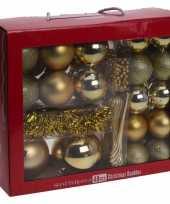Gouden kerstdecoratie kerstballen set 48 delig plastic