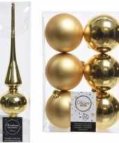 Gouden kerstversiering kerstdecoratie set piek en 6x kerstballen 8 cm glans mat