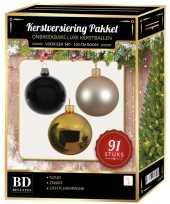 Gouden licht champagne zwarte kerstballen pakket 91 delig voor 150 cm boom