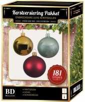 Gouden rode mintgroene kerstballen pakket 181 delig voor 210 cm boom