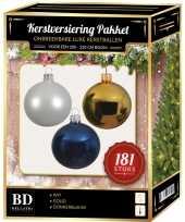 Gouden witte blauwe kerstballen pakket 181 delig voor 210 cm boom
