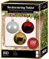 Gouden witte kerst rode kerstballen pakket 130 delig voor 180 cm boom