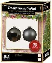 Grijsblauwe kerstballen pakket 45 delig voor 120 cm boom