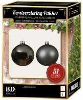 Grijsblauwe kerstballen pakket 51 delig voor 120 cm boom