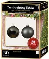 Grijsblauwe kerstversiering kerstballen 24 delig 6 cm