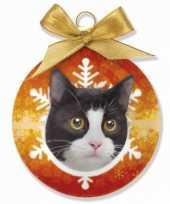 Huisdieren kerstballen kat poes zwart wit 8 cm