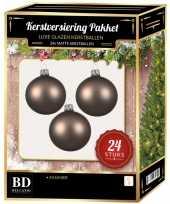 Kasjmier bruine kerstversiering kerstballen 24 delig 6 en 8 cm