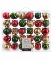 Kerst kerstballen mix 60 delig dennen groen rood goud