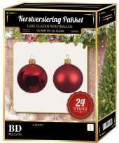 Kerst rode kerstversiering kerstballen 24 delig 6 en 8 cm