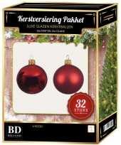 Kerst rode kerstversiering kerstballen 32 delig 6 cm 8 cm 10 cm
