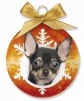 Kerstballen chihuahua honden 8 cm
