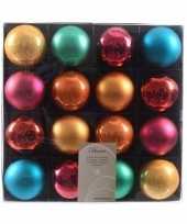 Kerstballen kleuren mix 16 stuks