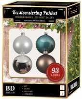 Kerstballen pakket 93 delig complete kerstballen set wit bruin blauw zilver150 cm boom