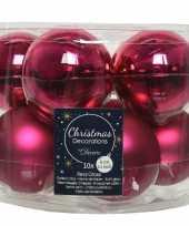 Kerstboomversiering bessen roze kerstballen van glas 6 cm 10 stuks