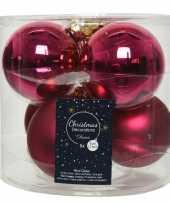 Kerstboomversiering bessen roze kerstballen van glas 8 cm 6 stuks