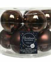 Kerstboomversiering donkerbruine kerstballen van glas 6 cm 10 stuks