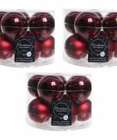 Kerstboomversiering donkerrode kerstballen van glas 6 cm 30x stuks