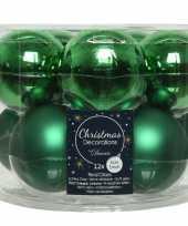 Kerstboomversiering kerst groene kerstballen van glas 6 cm 10 stuks