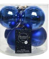 Kerstboomversiering kobalt blauwe kerstballen van glas 8 cm 6 stuks