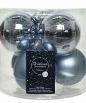 Kerstboomversiering lichtblauwe kerstballen van glas 8 cm 6 stuks