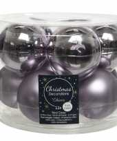 Kerstboomversiering lila paarse kerstballen van glas 6 cm 10 stuks