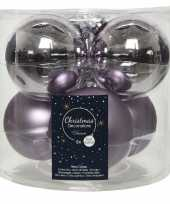 Kerstboomversiering lila paarse kerstballen van glas 8 cm 6 stuks