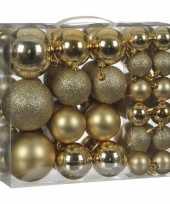 Kerstboomversiering pakket met 46x gouden plastic kerstballen